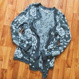 Arizona Jean Co Gray & White rose cardigan XL